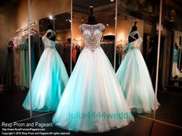 2019 Quinceanera Dresses Prom Party Gown Pageant Full Beads Top Mint ulle With Cap Sleeve Soop Sheer Neck Cap Sleeve Sweet 16 Long