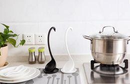 Wholesale Creative Aesthetic design Swan modeling plastic material spoons cm high Vertical Kitchen spoon colors BTOP1330