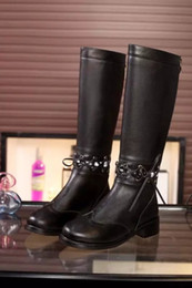 Wholesale high quality u688 genuine leather cut out cross strap knee high boots black c lluxury designer runway shoes
