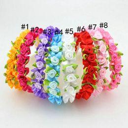 Wholesale Baby Girl Satin Rose Flower Hair hoop Hair Accessories Girls Cute Hair Band Infant Lovely Headwrap 8 Colors