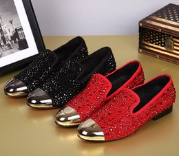 Black Red Rhinestones Shoes Men Flat Shoes 2016 Newest Metal Toe Wedding Shoes Chaussure Homme Fashion Casual Loafers Shoes Plus Size 38-46
