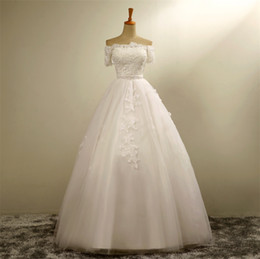 Elegant Real Picture Off Shoulder Wedding Dresses 2016 Lace Applique White A Line Ball Gown Wedding Dress Custom Wedding Gowns Online