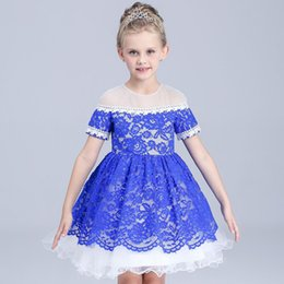 2016 kids High Grade Embroidered Lace Ball Gown Dress Girls European and American Style Short Sleeve Beaded Collar Princess Summer Dress