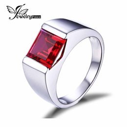 Wholesale Feelcolor Pigeon Blood Ruby ct Ring Square Cut Solid Sterling Sliver Wedding Brand New Promotion Man Jewelry
