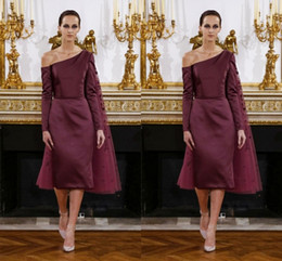 Burgundy Off Shoulder Long Sleeve Prom Dresses 2016 Satin Sheath Evening Gowns With Tulle Cape Knee Length Dark Red Formal Party Dresses