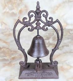 Wholesale European Style Large Pedestal Rustic Fleur de Lis Cast Iron Service Bell Hotel Bell Desk Bell Dinner Bell Decor