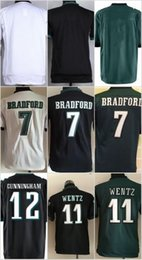 Wholesale Youth KIDS Football Stitched Eagles Blank Bradford Carson Wentz Cunningham White Green Black Jerseys top sell
