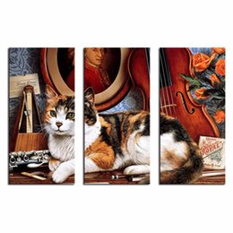 Wholesale LK3215 Panels Cats And Musical Instrument Guitar Wall Art Modern Pictures Print On Canvas Paintings For Home Bar Hub Hotel Restaurant Fas
