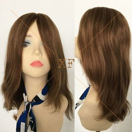 Most popular 100% brazilian hair 10# with 14# 20 inches highlighted color jewish wigs factory price
