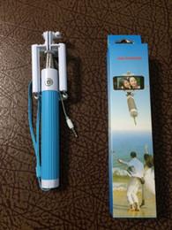 Free shipping dhl 100pcs Monopod Selfie Stick Handheld stick Cable Wired Selfie Monopod Clip Holder Extendable Selfie Stick Tripod