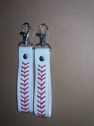 Wholesale 2016 factory is cheap baseball keychain fastpitch softball accessories baseball seam keychains
