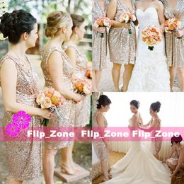 Bling Rose Gold Cheap 2016 Short Bridesmaid Dresses with V-Neck Straps Sequins Backless Knee Length Maid of Honor Gowns for Beach Wedding