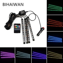 BIHAIYUAN 4Pc Car Auto Music Control RGB LED Strip 12LED 5050 SMD Voice Controller Flexible Light LED Tape Home Decoration Atmosphere Lamp