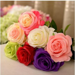 Wholesale 2016 New Styles Artificial Rose Silk Craft Flowers Real Touch Flowers For Wedding Christmas Room Decoration