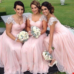 Capped Sweetheart Pleated Long Chiffon Bridesmaid Dress With Appliques 2019 Floor Length Wedding Party Dress