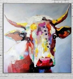 Framed Cute Cow with glasses Animal ,Pure Hand Painted Cartoon Pop Art Oil Painting On High Quality.Multi sizes Free Shipping springgalle