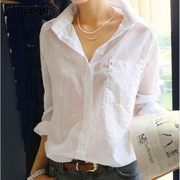 Wholesale Plus Size White Shirt Loose Fluid Basic shirt At Home Service Sweater Women shirts Blouses Casual blusas feminino vetement femme KK