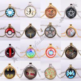 Wholesale Vintage Jewelry Superhero Batman Captain America Necklace Tree Of Life Pendant Necklace Harry potter Poke Mon Go Necklace Comet Jewelry M112