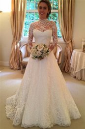 Modest A Line Wedding Dresses 2016 Long Sleeves High Neck Lace Backless Vintage Plus Size Bridal Gowns Custom Hot Wedding Gowns Cheap
