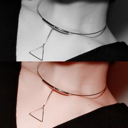 Luxury Copper Pipe Short Choker Necklace With Triangle Pendant Simple Concise Style OEM ODM Wholesale