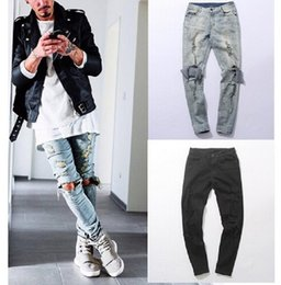 Wholesale New Autumn Distressed Skinny Ripped hip hop Jeans Mens Big Hole On Knee Swag Streetwear Clothes Destroy Denim Pants Kanye west