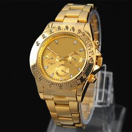 Wholesale 2015 New Fashion Men Big Watch Golden Stainless steel High Quality Male Quartz watches Man Wristwatch Silver Gold