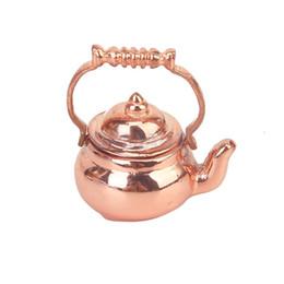 Wholesale SPMART Dollhouse Miniature Copper Tea Kettle Tea Pot