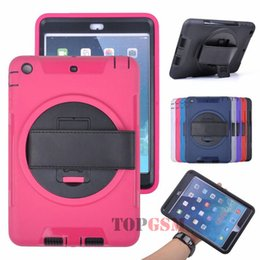 For iPad air Hybrid 2 in 1 Silicone+PC DEFENDER Case Wheel+Leather Strap+360 Degree Rotating+Belt Holster Tablet Case For iPad 5 Air Case
