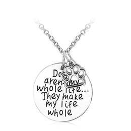 2017 американские собаки Урожай Собаки ожерелье Собаки не вся моя жизнь домашних собак Paw Amimal ожерелья европейских и американских серебрение украшения для женщин дешево американские собаки