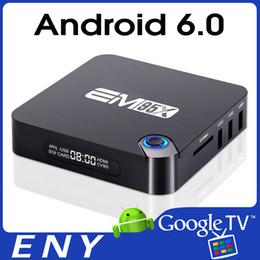 Complète android à vendre-Android 6.0 TV BOX EM95X Amlogic S905X Quad Core 1Go / 8Go 4K Bluetooth4.0 H.265 lecteur média intelligent 3D