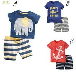 Wholesale 3 Design Boy elephant aircraft ship fish stripe Suit new children cartoon Short sleeve T shirt shorts Suit B001