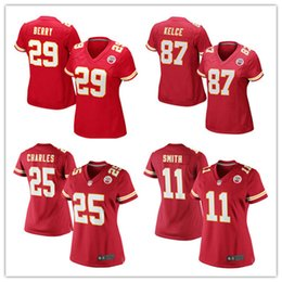 Wholesale Women s KansasCity football jerseys Cheap Chiefs Travis Kelce Eric Berry Alex Smith Jamaal Charles Red authentic shirt