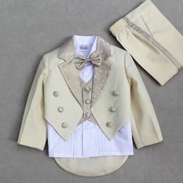 Wholesale Kids Tuxedo Suit Champagne Child Tuxedo Piano Performance Wear pieces Set Blazer pant shirt bow girdle tie belt Boy Suit