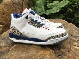 Wholesale air retro OG True Blue white grey hot sale online III s mens basketball shoes good quality