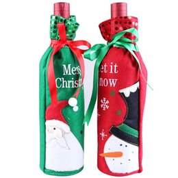 Wholesale Santa Snowman Wine Bottle Covers Bag Merry Christmas Table Decoration Festival Wine Bottle Cover Bags Gift Wrap Party Decor