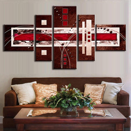 5 Pcs Set Combined Modern Abstract Oil Painting Brown Red Cream Canvas Wall Art Picture Unframed Canvas Painting