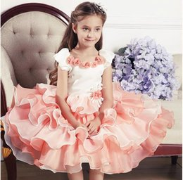 Wholesale 2016 Girl s First Communion Dresses new flower around neck girl dresses high quality wedding dress flower girl dress children s clothes