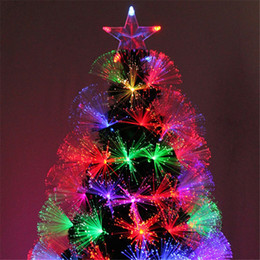 Wholesale 2016 News Christmas tree Fib Re Optic Star LED Colour Changing Traditional Artificial Green Flash Xmas