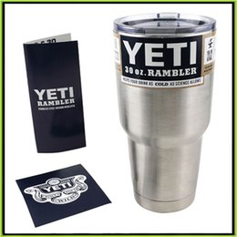Wholesale 2016 Yeti oz oz Cups Cooler Stainless Steel YETI Rambler Tumbler Cup Car Vehicle Beer Mugs Double Wall Bilayer Vacuum Insulated