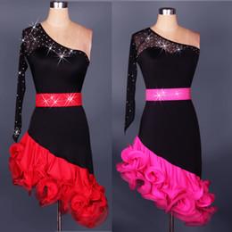 Free Shipping Red Adult Girls Latin Dance Dress Salsa Tango Chacha Ballroom Competition Dance Dress Sexy Shoulder Rhinestone Dress Custom