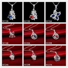 Brand new fashion women's gemstone 925 silver necklaces pendant 10 pieces mixed style,cheap sterling silver pendant necklaces GTN4