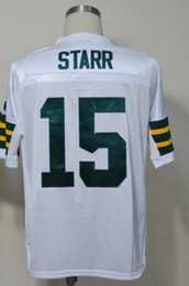 Wholesale Green Bart Starr Jersey Throwback Football Jersey Best quality Authentic Jersey Size M L XL XXL XXXL Accept Mix Order