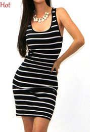 2016 Women Clothes Summer Fashion Sleeveless Bodycon Tank Dresses Casual Slim Fitted Striped Dress Black Red Blue Cotton Mini Dress SV025054