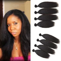 Kinky Straight Human Hair Bundles 4pcs Lot Virgin Brazilian Hair Coarse Yaki Italian Yaki Hair Weaves 100g pc 8-30inch G-EASY