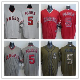 Wholesale 2016 Newest High Quality Albert Pujols Jersey Cheap Los Angeles Angels Pujols Baseball Jerseys Stitched Gray Red White Army Green