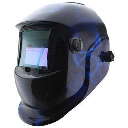 Wholesale Blue skull paint Solar auto darkening TIG MIG MMA electric welding mask helmet welder cap for welding machine Or plasma cutter