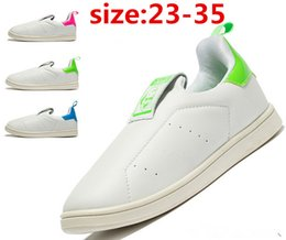Wholesale 2016 fashion children s stan smith white green shoes white slip on tennis shoe kids smith shoes size