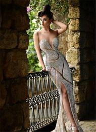 Wholesale 2017 Rami Salamoun Evening Dresses Luxury Jewellery Rhinestone Backless Sweetheart Corset Mermaid Floor Length Prom Dress
