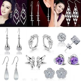 Silver Earrings Hot Sale Crystal Crown Stud Flower Drop Earring For Women Girl Party Fashion Jewelry Wholesale Free Shipiing - 0198WH