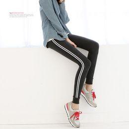 Wholesale Korean Casual Stripe Pants Women - korean style Quick-Drying Casual stripe FitnessTrousers Women Gym Leggings Elastic Women Sport Pantsnning Pants Capris